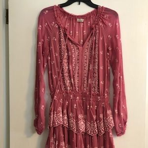 Loveshackfancy pink embroidered dress